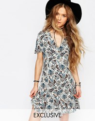 Reclaimed Vintage Dress With Cape Sleeves And Floral Print Blue