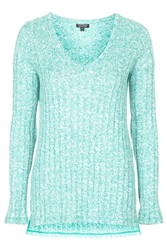 Topshop Ribbed Split Side Tunic Green