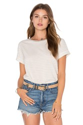 Vince Rolled Sleeve Stripe Tee White