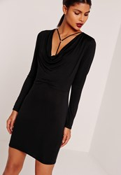 Missguided Cowl Neck Harness Bodycon Dress Black Black