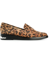 Toga Pulla Leopard Print Loafers Yellow And Orange