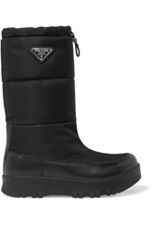 Prada Leather And Shell Boots Black