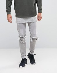 Other Uk Skinny Biker Jeans With Distressing Stone
