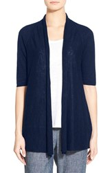 Women's Eileen Fisher Organic Linen And Cotton Elbow Sleeve Straight Cardigan Blue Bell
