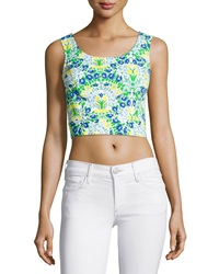 Plenty By Tracy Reese Floral Pique Tie Back Crop Top Ocean Floor Pequena