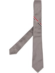 Thom Browne 'Dog' Embroidered Logo Tie Grey