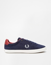 Fred Perry Howells Suede Carbon Blue Plimsoll Trainers