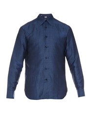 Brioni Point Collar Checked Shirt