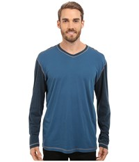 Agave Denim Nichols Baseball V Neck Long Sleeve Blue Wing Teal Men's Clothing Red