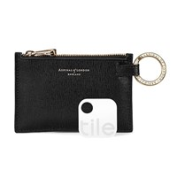 Aspinal Of London Tracking Keyring In Zip Pouch Black