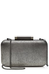 Diane Von Furstenberg Slim Tonda Leather Box Clutch Silver