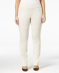 Jag Plus Size Peri Pull On Straight Leg Jeans Stone