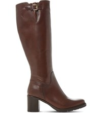 Dune Todd Cleated Sole Leather Boots Brown Leather