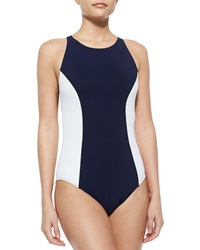 Tory Burch Colorblock One Piece Swimsuit Tory Navy White