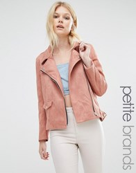 Missguided Petite Exclusive Faux Suede Bonded Biker Jacket Rose Pink