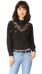 Sea Embroidered Long Sleeve Top Black
