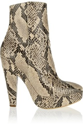 Stella Mccartney Snake Effect Faux Leather Ankle Boots Animal Print