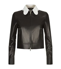 Valentino Scallop Collar Leather Jacket Female Black