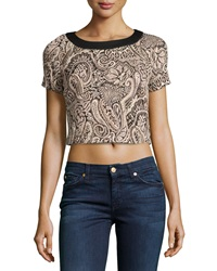 5Twelve Paisley Jacquard Crop Top Black Ivory Gold