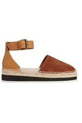 See By Chloe Shearling Lined Suede And Leather Espadrilles Tan