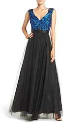Aidan Mattox Women's Embroidered Mesh Fit And Flare Gown Cobalt Black
