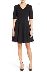 Halogenr Petite Women's Halogen Ponte Fit And Flare Dress Black