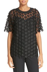 Carven Women's Embroidered Tulle Tee