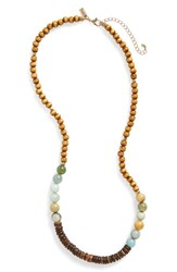 Canvas Jewelry Women's Wood And Stone Beaded Necklace