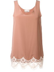 Chloe Scalloped Lace Tank Top Pink And Purple