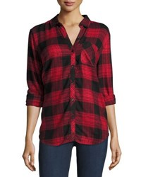 Lenox Sable Plaid Button Back Blouse Red Envelo