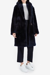 Helmut Lang Women S Teddy Shearling Coat Boutique1 Navy