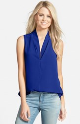 Women's Pleione Layered V Neck Sleeveless Blouse Blue Mazarine