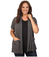 B Collection By Bobeau Curvy Plus Size Larken Ribbed Knit Cardigan Charcoal Grey Women's Sweater Gray