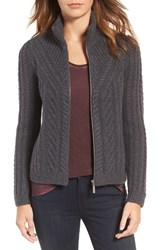 Hinge Women's Cable Knit Zip Cardigan Grey Medium Charcoal