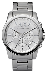 Armani Exchange Round Chronograph Watch 45Mm Silver