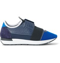 Balenciaga Panelled Leather Mesh And Neoprene Sneakers Blue