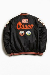 Urban Outfitters Vintage Osseo Maple Grove Satin Club Jacket Black