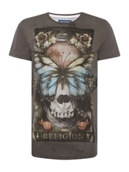 Religion Reclaim Regualr Fit Butterfly Skull Print T Shirt Grey