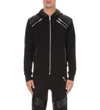 Just Cavalli Faux Leather Panel Cotton Jersey Hoody Black