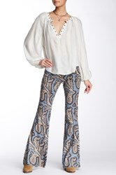 Free People Paradise Printed Flared Linen Blend Pant Blue