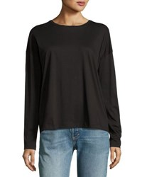 Vince Relaxed Long Sleeve Pima Cotton Crewneck Tee Black