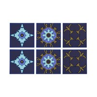 Images D'orient Set Of 6 Coasters Zafaf Bluebird