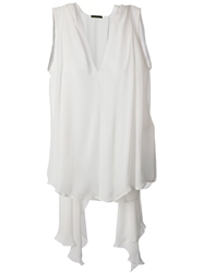 Plein Sud Jeans Plein Sud Draped Sleeveless Blouse White