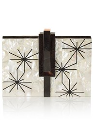 Nathalie Trad Mother Of Pearl Collins Clutch Cream