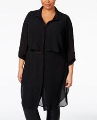 Ny Collection Plus Size Sheer Chiffon Tunic Blouse Black