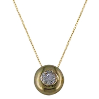 Ewa 9Ct Yellow Gold Single Stone Diamond Slide Pendant Gold