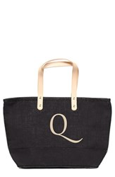 Cathy's Concepts 'Nantucket' Personalized Jute Tote Black Black Q