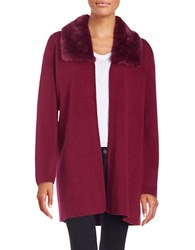 Nipon Boutique Faux Fur Collared Cardigan Beet Multi