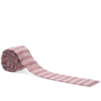 The Hill Side Basketweave Square Tie Burgundy Stripe