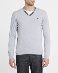 Lacoste Tricolour Crocodile Chest Logo Striped Trim V Neck Sweater Grey